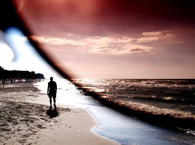 strand door zonnebril