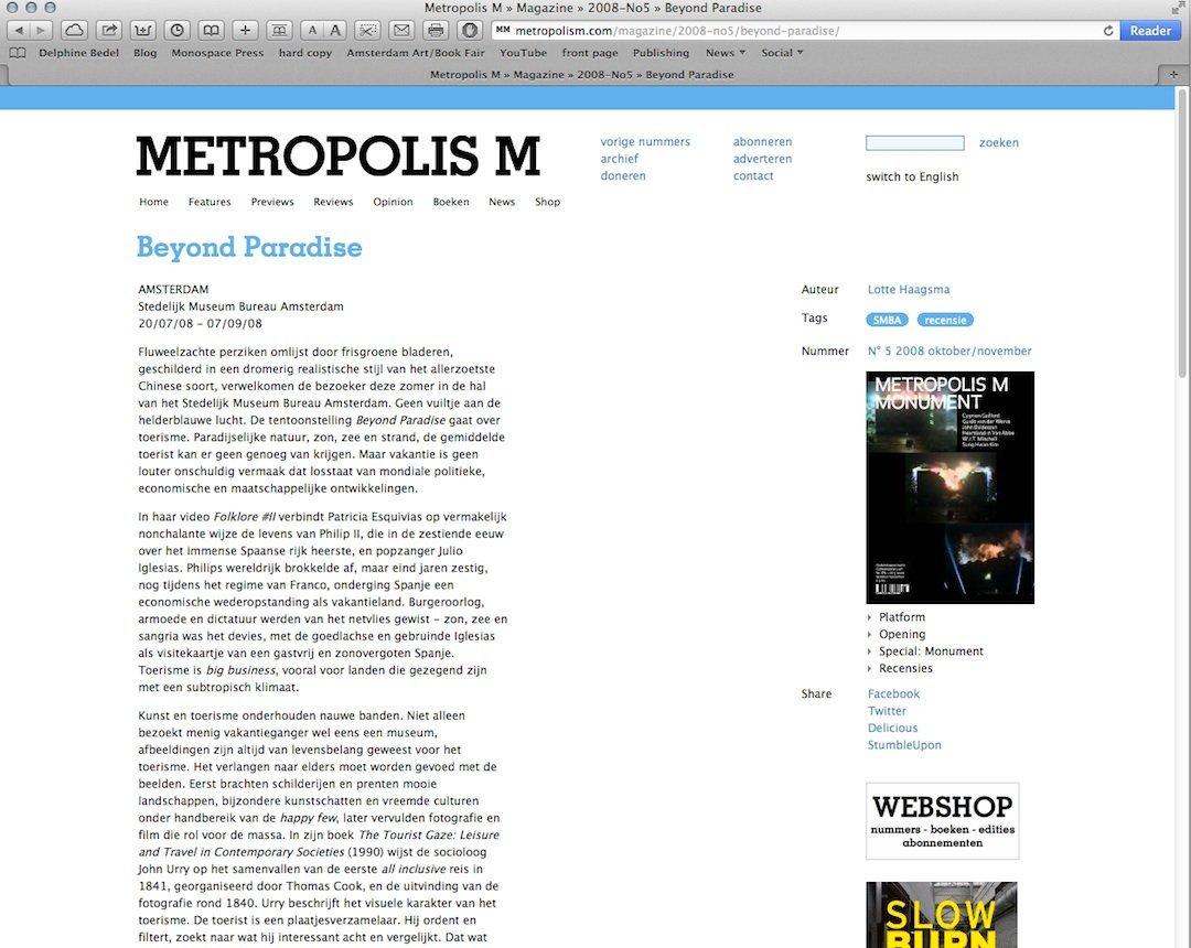 METROPOLIS M, 2008
