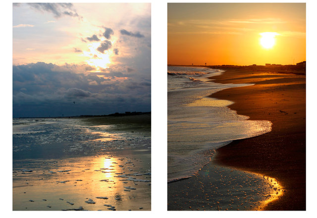(left & right) Sunset Oak Island, N.C.