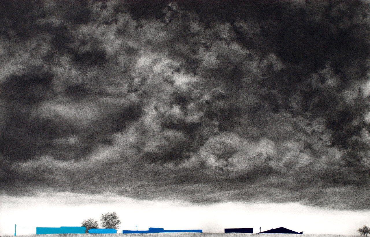 "Storm Cloud, 2013, gouache and graphite on paper, 11 x 16"" **"