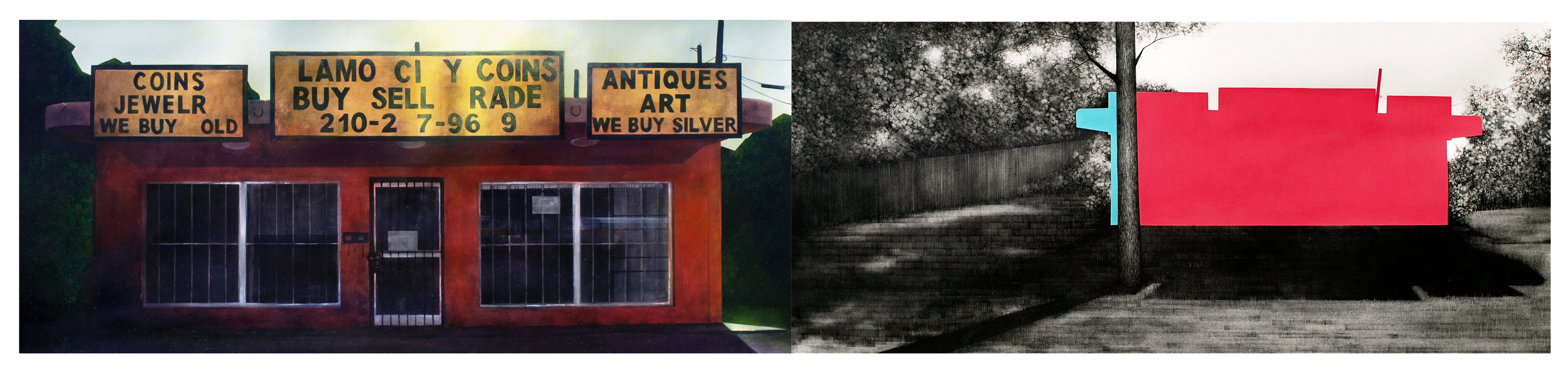 "Alamo City $ (diptych), 2014, graphite, gouache, acrylic, and oil on paper, 14"" x 64"" **"