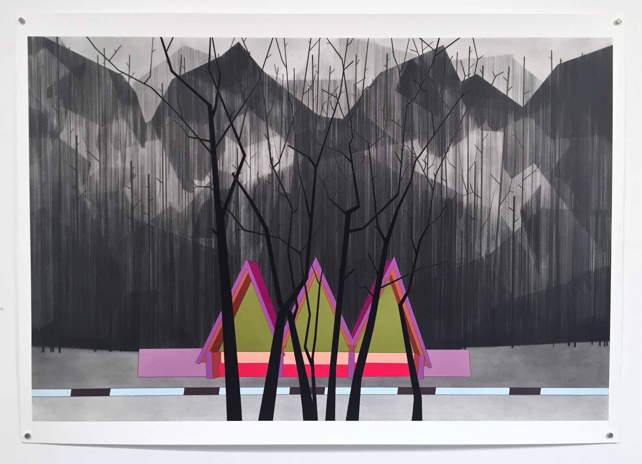 Yes, 2015, gouache and graphite on paper, 38 x 57""