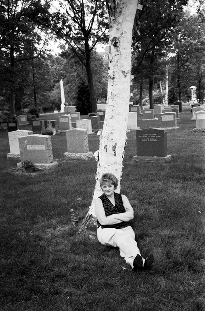 My aunt at the cemetery.