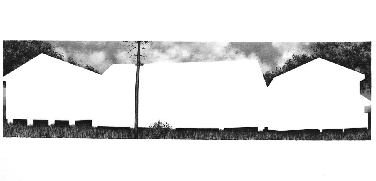 """Abandoned Winkelman, TX"" 2012, 7.5 x 15"", graphite on paper"