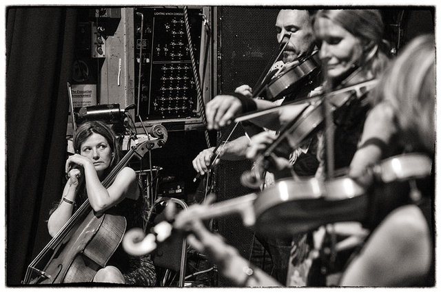 the string section during the sound check