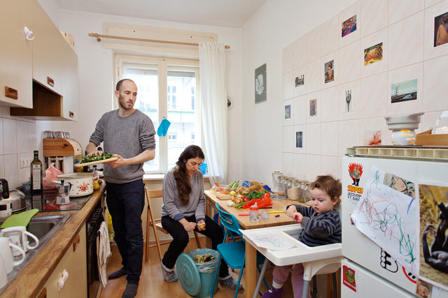 """self portrait with hadas and mika at home, berlin, 2014""    45x30cm    2014    c-print"
