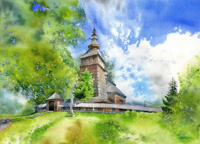 Cerkiew w Kotani 50x70 akwarela