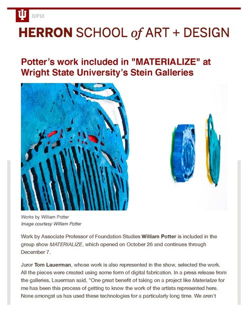 """Potter's work included in """"MATERIALIZE"""" at Wright State University's Stein Galleries_Page_1.jpg"""