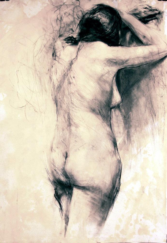 Kobieta stojąca tyłem, rys. węglem 70x100 2009-10