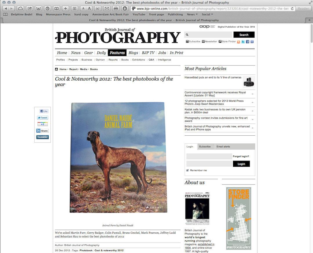 BRITISH JOURNAL OF PHOTOGRAPHY, 2012