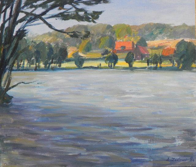 Jezioro Miodówko 70x60 olej płotno wiosna 2015