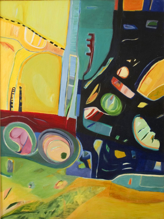 "Golden Circus, 2002, Acrylic on Canvas, 48"" x 36"""