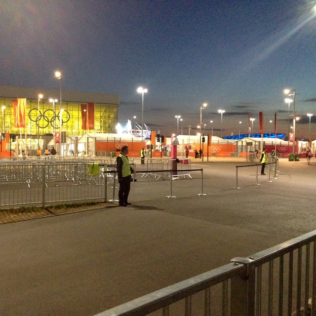 Checking in for night shift, Olympic Park, 2012